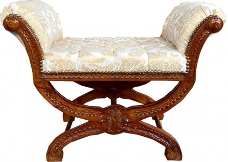 Casa Padrino Barock Sitzhocker Weiß / Gold / Braun - Handgefertigter Antik Stil Hocker mit elegantem Muster - Schemel im Barockstil - Barock Hocker Möbel