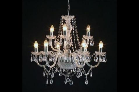 Casa Padrino Barock Kronleuchter 9-armig klar - Hängeleuchte Lüster Hängelampe Deckenlampe