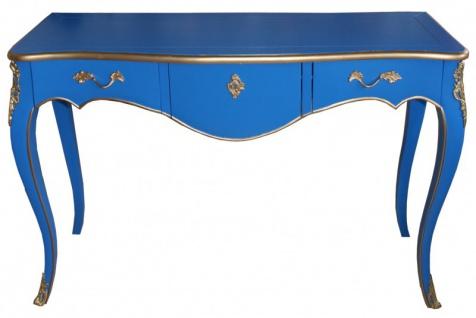 Casa Padrino Konsolentisch Blau / Gold Antik Stil Konsole Barock Möbel