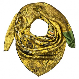 """Designer Satintuch mit einem berühmten Motiv des Jugendstilmalers Gustav Klimt """" Adele"""" 100 % Seide - sehr elegantes und hochwertiges Seidentuch - Luxus Qualität"""