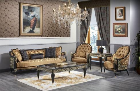 Casa Padrino Luxus Barock Wohnzimmer Set Gold / Schwarz - 2 Sofas & 2 Sessel & 1 Couchtisch & 2 Beistelltische - Prunkvolle Barock Möbel - Luxus Qualität