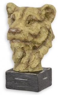 Casa Padrino Kunstharz Deko Skulptur Löwenkopf Beige / Schwarz 22, 1 x 20, 9 x H. 32, 4 cm - Dekofigur - Schreibtisch Deko - Wohnzimmer Deko