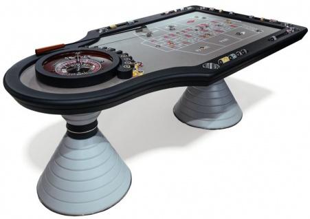 Casa Padrino Luxus Roulette Tisch Grau / Schwarz / Silber 230 x 125 x H. 79 cm - Edler Massivholz Roulette Tisch - Casino Tisch - Hotel Kollektion - Luxus Qualität - Made in Italy
