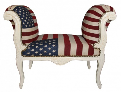 Barock Schemel Hocker USA Design / Creme - Sitzbank USA Flagge