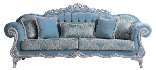 Casa Padrino Luxus Barock Wohnzimmer Sofa mit dekorativen Kissen Hellblau / Grau 237 x 90 x H. 105 cm - Barock Möbel - Edel & Prunkvoll