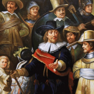 Riesiges Handgemaltes Barock Öl Gemälde Rembrandt Nachtwache Gold Prunk Rahmen 220 x 160 x 10 cm - Massives Material - Vorschau 2
