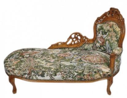 Casa Padrino Barock Chaiselongue Gobelin Muster / Braun - Antik Stil Möbel Lounge Liege Recamiere