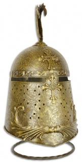 Casa Padrino Metall Ritterhelm mit Ständer Antik Gold 24, 2 x 25 x H. 47, 5 cm - Mittelalter Deko