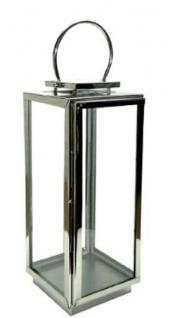 Casa Padrino Luxus Laterne mit Tragegriff Silber 20 x 20 x H. 40, 5 cm - Deko Accessoires