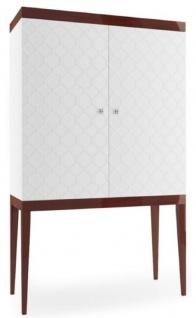 Casa Padrino Luxus Barschrank mit 2 Türen Weiß / Hochglanz Braun 111, 2 x 45 x H. 185 cm - Luxus Kollektion