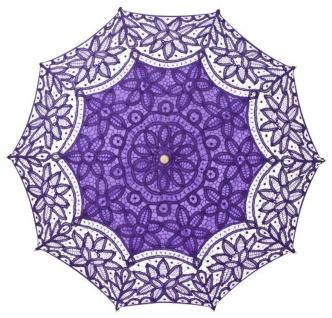 MySchirm Designer Dekoschirm Hochzeitsschirm mit violetter Baumwollspitze - romantischer Dekoschirm - Vorschau 2
