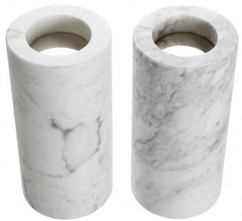 Casa Padrino Luxus Marmor Teelichthalter Set Weiß Ø 10 x H. 21 cm - Luxus Qualität - Vorschau 3