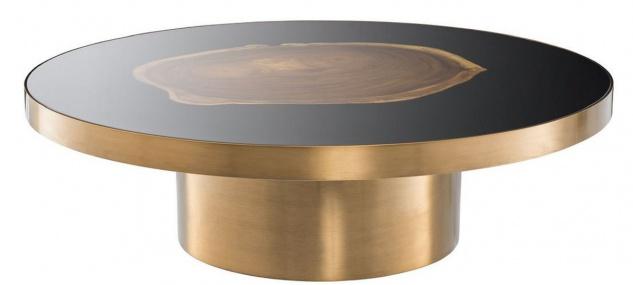 Casa Padrino Luxus Couchtisch Messing / Schwarz / Braun Ø 120 x H. 34 cm - Runder Edelstahl Wohnzimmertisch mit Suar Holz Baumscheibe - Luxus Möbel
