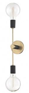 Casa Padrino Doppel Wandleuchte Antik Messing / Schwarz 12, 1 x 12, 7 x H. 45, 7 cm - Luxus Wandlampe