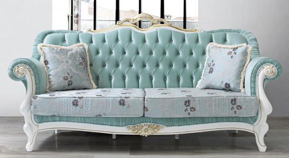 Casa Padrino Barock Wohnzimmer Sofa mit Glitzersteinen und Blumenmuster Hellgrün / Hellblau / Weiß / Gold 215 x 80 x H. 120 cm - Barock Möbel