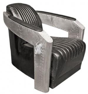 Casa Padrino Art Deco Aluminium Echtleder Sessel Schwarz / Silber 74, 5 x 94 x H. 78 cm - Flugzeug Flieger Möbel - Club Sessel - Lounge Sessel