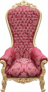 Casa Padrino Barock Thron Sessel Majestic Mod2 Bordeaux Muster / Gold mit Bling Bling Glitzersteinen - Riesensessel -Thron Stuhl Tron
