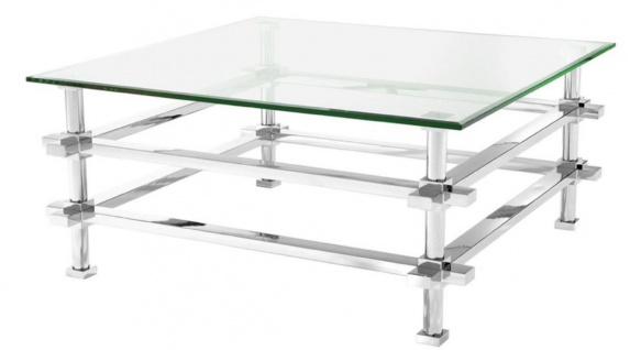 Casa Padrino Luxus Couchtisch Silber 100 x 100 x H. 45, 5 cm - Edelstahl Wohnzimmertisch mit Glasplatte