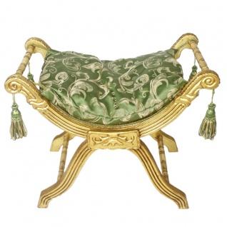 Casa Padrino Barock Sitzhocker - Kreuzhocker Grün Muster / Gold - Antik Möbel