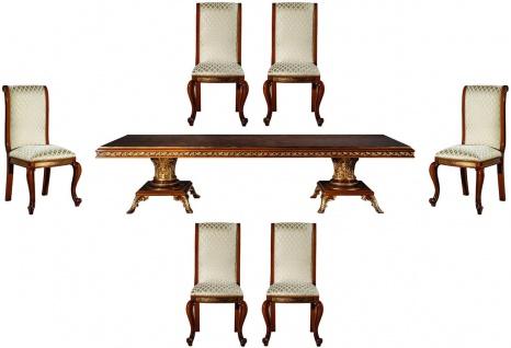 Casa Padrino Luxus Barock Esszimmer Set Gold / Braun - 1 Esstisch & 6 Esszimmerstühle - Edle Esszimmer Möbel im Barockstil