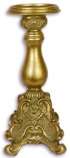 Casa Padrino Barock Polyresin Kerzenständer Gold 11, 6 x 11, 6 x H. 26, 8 cm - Barock Deko
