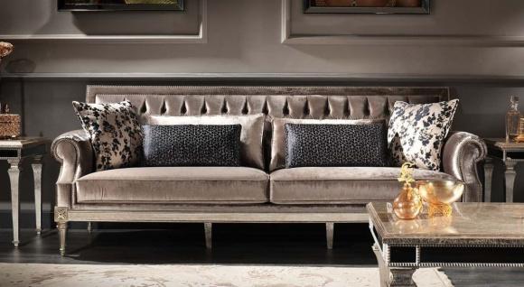 Casa Padrino Luxus Barock Wohnzimmer Samt Sofa Rosa / Antik Silber 250 x 88 x H. 100 cm - Edel & Prunkvoll - Vorschau 3