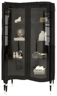 Casa Padrino Luxus Art Deco Vitrine Schwarz / Silber - Handgefertigter Massivholz Vitrinenschrank mit 2 Glastüren - Art Deco Wohnzimmer Möbel
