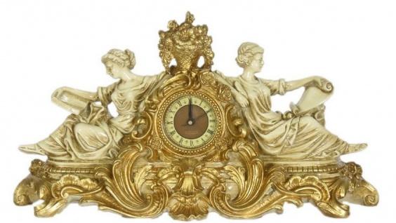 Casa Padrino Barock Tischuhr Creme / Gold 27 x 11 x H. 49 cm - Prunkvolle Tischuhr im Barockstil