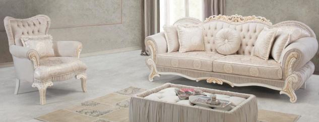 Casa Padrino Luxus Barock Wohnzimmer Set Hellrosa / Weiß / Gold - 2 Sofas & 2 Sessel & 1 Beistelltisch - Wohnzimmer Möbel im Barockstil - Edel & Prunkvoll