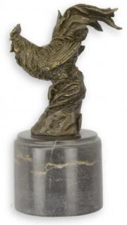 Casa Padrino Deko Bronzefigur Hahn Vogel Bronze / Schwarz 7 x 8, 8 x H. 16, 1 cm - Bronze Skulptur - Dekofigur - Deko Accessoires