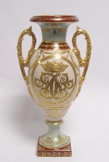 Casa Padrino Barock Porzellan Vase mit 2 Griffen H. 33 cm - Edel & Prunkvoll
