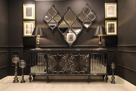 Casa Padrino Luxus Barock Möbel Set Sideboard und 3 Wandspiegel Grau / Schwarz / Silber - Barock Möbel - Edel & Prunkvoll - Luxus Qualität