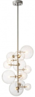 Casa Padrino Luxus Halogen Kronleuchter Silber 26 x 26 x H. 71 cm - Moderner Kronleuchter mit runden Glas Lampenschirmen - Luxus Kollektion