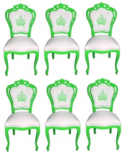 Pompöös by Casa Padrino Luxus Barock Esszimmerstühle Weiß / Grün - Pompööse Barock Stühle designed by Harald Glööckler - 6 Esszimmerstühle - Barock Esszimmermöbel