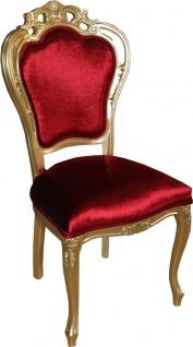 Casa Padrino Luxus Barock Esszimmer Stuhl in Bordeauxrot/Gold - Designer Stuhl - Luxus Qualität - Vorschau 2