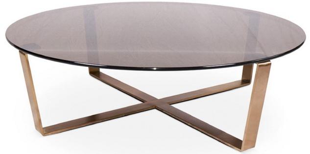 Casa Padrino Luxus Couchtisch Bronze / Rosegold Ø 105 x H. 38 cm - Runder Wohnzimmertisch mit Glasplatte und Edelstahl Gestell - Luxus Möbel
