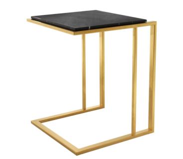 Casa Padrino Luxus Art Deco Designer Beistelltisch Gold mit schwarzer Marmorplatte - Designer Beistelltisch Möbel