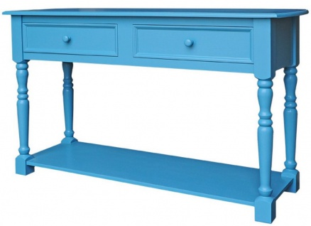 Casa Padrino Landhausstil Konsolentisch mit 2 Schubladen und Regal Blau 152 x 51 x H. 90 cm - Landhausstil Hotel Möbel