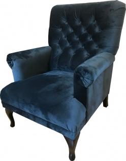 Casa Padrino Luxus Chesterfield Samt Sessel Mitternachtsblau / Schwarz 82 x 75 x H. 93 cm - Chesterfield Wohnzimmer Möbel