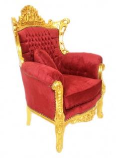 Casa Padrino Barock Wohnzimmer Set Bordeaux Samtstoff / Gold - 3er Sofa + 2 Sessel - Vorschau 4