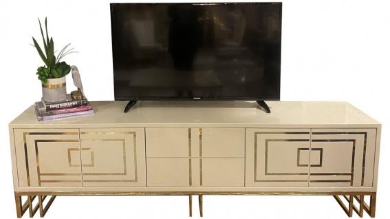 Casa Padrino Luxus TV Schrank Grau / Gold 220 x 45 x H. 60 cm - Edler Fernsehschrank mit 4 Türen und 2 Schubladen - Luxus Wohnzimmer Möbel