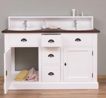 Casa Padrino Landhausstil Doppelwaschtisch Weiß / Dunkelbraun 147 x 51 x H. 110 cm - Massivholz Waschbeckenschrank - Badezimmer Möbel im Landhausstil - Vorschau 2