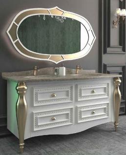 Casa Padrino Luxus Barock Badezimmer Set Weiß / Grau / Gold - 1 Waschtisch mit 4 Schubladen und 2 Waschbecken und 1 Wandspiegel - Prunkvolle Badezimmermöbel
