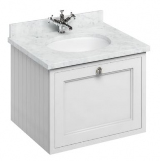 Casa Padrino Luxus Hänge-Waschschrank / Waschtisch mit Marmorplatte und Schublade - Luxus Kollektion