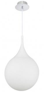Casa Padrino LED Hängeleuchte Silber / Weiß Ø 30 x H. 150 cm - Pendelleuchte mit Mattglas Lampenschirm