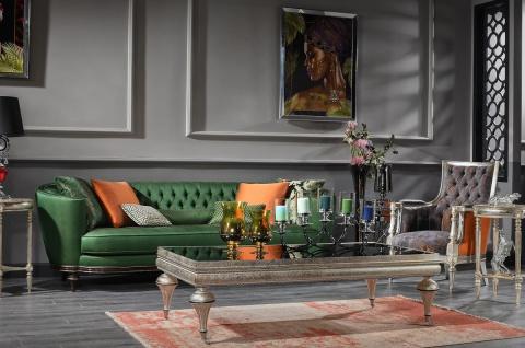 Casa Padrino Luxus Barock Couchtisch Schwarz / Silber - Prunkvoller Massivholz Wohnzimmertisch mit Glasplatte - Barock Wohnzimmer Möbel - Vorschau 3