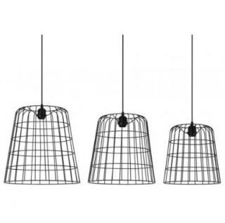 Casa Padrino Hängeleuchte Deckenleuchte Schwarz Industrial Design Durchmesser 40 / 35 / 30 cm - Industrie Lampe Leuchte Industrieleuchte