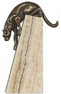 Casa Padrino Luxus Bronzefigur Panther Bronze / Beige 17 x 6 x H. 28 cm - Elegante Dekofigur auf Natursteinsockel