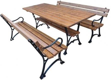 Casa Padrino Jugendstil Gartenmöbel Set Tisch und 2 Sitzbänke mit Armlehnen Braun / Schwarz 180 cm - Gartenmöbel