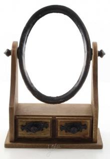 Casa Padrino Jugendstil Schminkspiegel Braun / Schwarz 20 x 10, 1 x H. 27, 8 cm - Kleiner Tischspiegel mit 2 Schubladen
